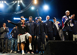 Players at reception of Slovenia National basketball team after they placed 5th at Eurobasket 2013 on September 22, 2013 in Fan zone Kongresni trg, Ljubljana, Slovenia. (Photo by Vid Ponikvar / Sportida)