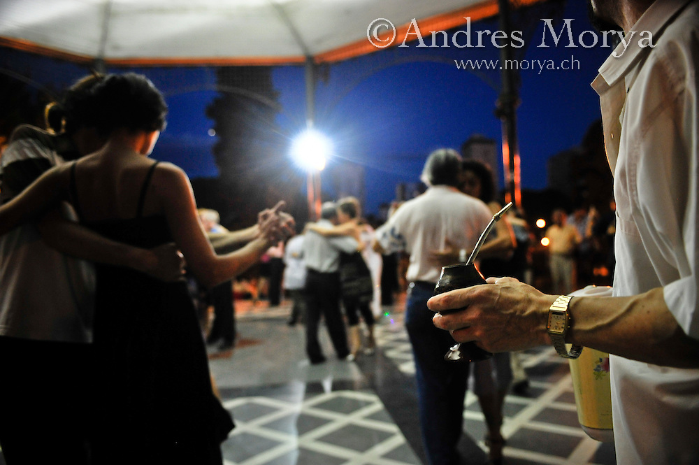 Tango Dancers and Mate te in the Outdoor Milonga La Glorieta, Buenos Aires, Argentina Image by Andres Morya