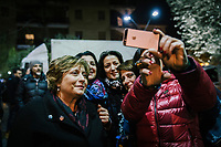 POMIGLIANO D'ARCO, ITALY - 6 MARCH 2018: Paola Esposito (left), mother of the Five Star Movement leader Luigi Di Maio, poses for a selfie with friends and fellow citizens after the celebration for his son Luigi who returned to his his hometown to celebrate the movement's victory in the 2018 Italian General Elections, in Pomigliano D'Arco, Italy, on March 6th 2018.<br /> <br /> The Five-Star Movement, became the first party in Italy, with 33 percent of the vote.