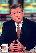 Senator John Ashcroft (R-MO) discusses the ongoing scandal involving President Clinton during NBC's Meet the Press September 20, 1998 in Washington, DC.
