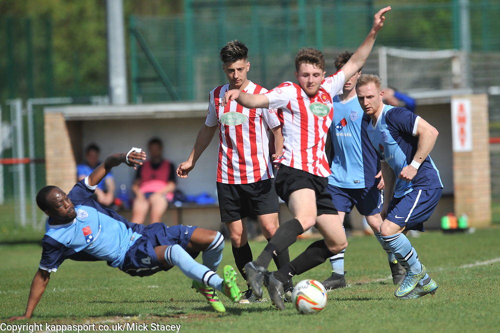 FLEET SIMBA MIAMBO BATTLES WITH GEORGE BOLAND KEMPSTON ROVERS, Kempston Rovers v Fleet Town, Evostick Southern League Central Saturday 15th April 2017. Score 3-1. Photo:Mike Capps
