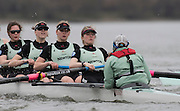 Putney, Great Britain.  2015 Pre Boat Race Fixture, Cambridge University Women's Boat Club vs Imperial College Women's Boat Club, Championship Course, River Thames.  England. <br /> Sunday  08/03/2015 <br /> <br /> [Mandatory Credit; Peter Spurrier/Intersport-images]<br /> Crews: CUWBC: left to right  5) Melissa Wilson*, 6) Holly Hill, 7) Hannah Roberts, stroke, Fanny Belais and Cox, Rosemary Ostfeld.