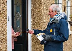 Haddington, East Lothian, Scotland, United Kingdom, 12 November 2019. General Election campaigning:  Robert O'Riordan, the Scottish Liberal Democrat candidate for East Lothian canvasses voters in Long Cram today. <br /> Sally Anderson | EdinburghElitemedia.co.uk