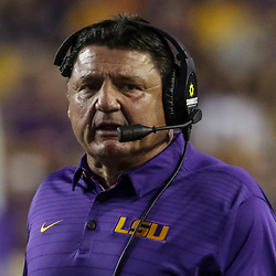 Sep 23, 2017; Baton Rouge, LA, USA; LSU Tigers head coach Ed Orgeron against the Syracuse Orange during the second quarter of a game at Tiger Stadium. Mandatory Credit: Derick E. Hingle-USA TODAY Sports