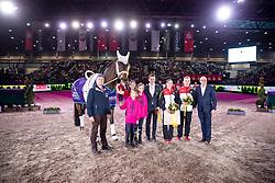 BRESCH Theresa Sophie JACOBS Torben (GER), Danny Boy Old<br /> Leipzig - Partner Pferd 2019<br /> Siegerehrung<br /> FEI Vaulting World Cup 2. Umlauf<br /> Pas de Deux<br /> 19. Januar 2019<br /> © www.sportfotos-lafrentz.de/Stefan Lafrentz