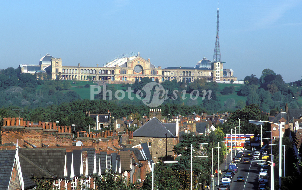 Alexandra Palace dominating skyline above Haringey; North London UK