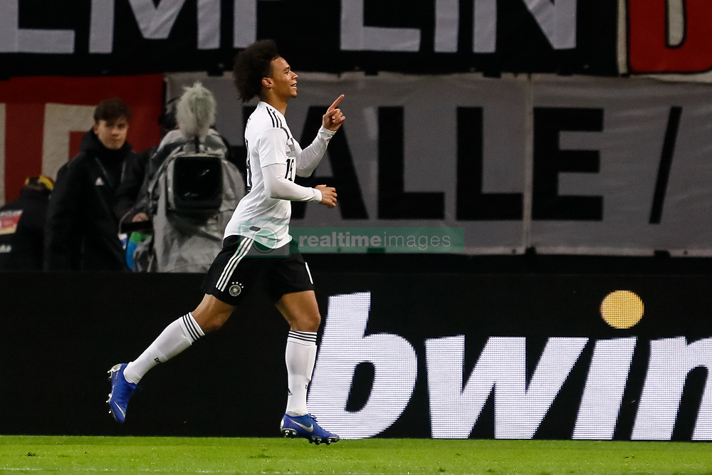 November 15, 2018 - Leipzig, Germany - Leroy Sane of Germany celebrates his goal during the international friendly match between Germany and Russia on November 15, 2018 at Red Bull Arena in Leipzig, Germany. (Credit Image: © Mike Kireev/NurPhoto via ZUMA Press)