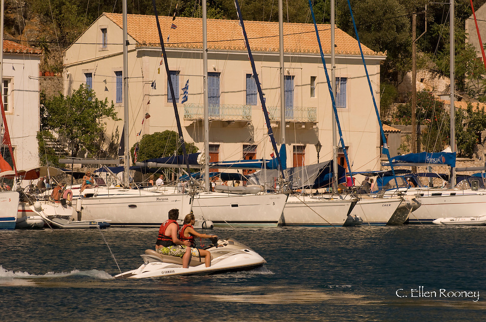 A jet ski in the harbour at Kioni, Ithaca, The Ionian Islands, Greece