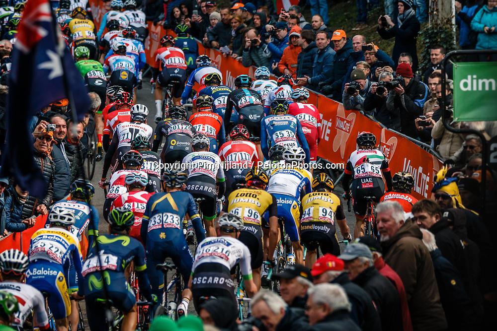 Peloton during 2nd lap on local circuit, UCI Men WorldTour 81st La Flèche Wallonne at Huy Belgium, 19 April 2017. Photo by Pim Nijland / PelotonPhotos.com   All photos usage must carry mandatory copyright credit (Peloton Photos   Pim Nijland)