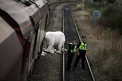 UK ENGLAND COTTAM 23SEP14 - A life-sized polar bear stands in front of a train as activists atop a coal waggon shovel coal into sacks during a protest against coal shipments to the UK.<br /> <br /> Over fifty Greenpeace UK activists stopped a freight train carrying 1,500 tonnes of coal to Cottam power station in Nottinghamshire, England.<br /> <br /> jre/Photo by Jiri Rezac / Greenpeace<br /> <br /> © Jiri Rezac 2014