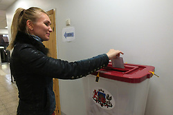 October 6, 2018 - Riga, Latvia, Latvia - Latvia, Riga, 06.10.2018. Elections to the 13th Parliament of Latvia in Riga Ziepniekkalns district. (Credit Image: © Russian Look via ZUMA Wire)