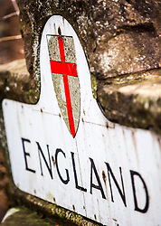 England sign after the River Tweed, over the border, after Coldstream, Scotland.