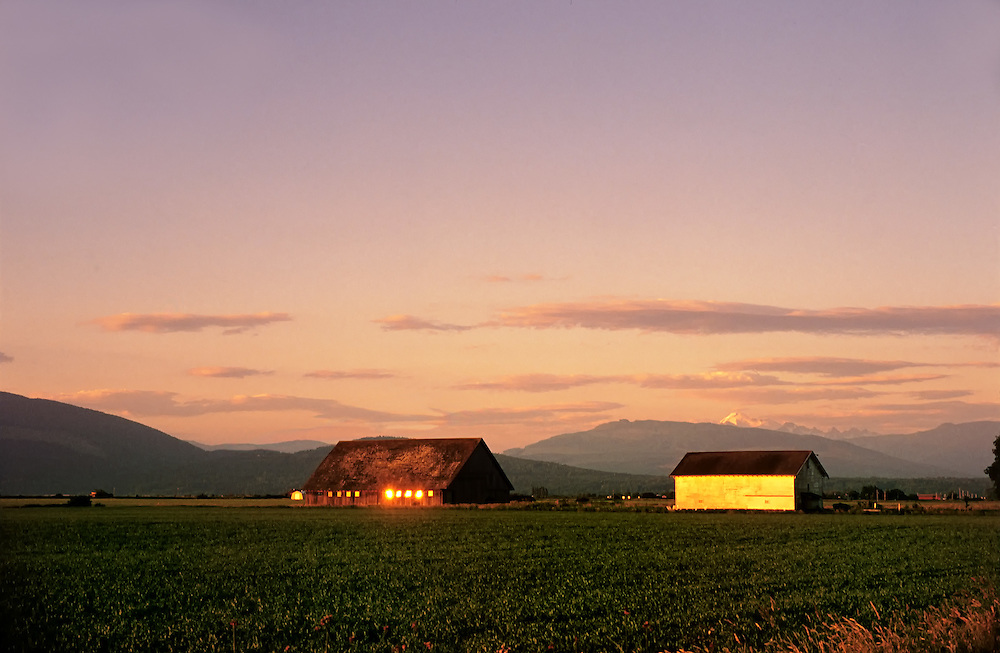 The sunset at the base of Mt Ranier reflects light from the windows of a large brown house and a small yellow buidling. Well trimmed farmland surrounds the buildings with smaller mountain range in the background.