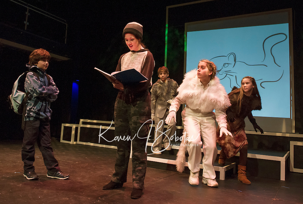 "Santiago McCulloch as Eric, Maggie A. Godsoe as Carter and Shyann Perez, Christa Walker and Sophie Pankhurst as cat ensemble during dress rehearsal for ""Boy Who Drew Cats"" at the Winnipesaukee Playhouse on Wednesday evening.  (Karen Bobotas/for the Laconia Daily Sun)"