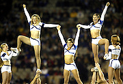 24 May 2003, Eden Park Auckland, Rugby Union, Xtra Super 12 Final, Auckland Blues vs Canterbury Crusaders.<br />The Blue's cheerleaders at the final on Saturday night.<br />Pic: Marty Melville/Photosport