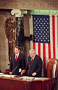 Vice President Al Gore with Speaker Dennis Hastert before the start of the State of the Union Address to Congress January 19, 1999 in Washington, DC. Clinton is addressing congress following the opening of his defense of the impeachment charges for lying about the affair with intern Monica Lewinsky.