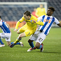Kilmarnock v St Johnstone…07.03.18…  Rugby Park    SPFL<br />Blair Alston is fouled by Aaron Tshibola<br />Picture by Graeme Hart. <br />Copyright Perthshire Picture Agency<br />Tel: 01738 623350  Mobile: 07990 594431