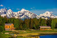 Snow-capped peaks line the shores of the Chilkat Inlet, near Haines, Alaska USA.