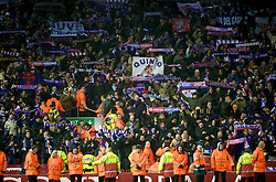LIVERPOOL, ENGLAND - Wednesday, December 9, 2009: AFC Fiorentina supporters celebrate their side's 2-1 victory over Liverpool during the UEFA Champions League Group E match at Anfield. (Photo by David Rawcliffe/Propaganda)