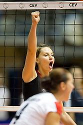 24.09.2011, Hala Pionir, Belgrad, SRB, Europameisterschaft Volleyball Frauen, Vorrunde Pool A, Deutschland (GER) vs. Ukraine (UKR), im Bild Jubel Angelina Grün / Gruen (#7 GER / Aachen GER) // during the 2011 CEV European Championship, First round at Hala Pionir, Belgrade, SRB, 2011-09-24. EXPA Pictures © 2011, PhotoCredit: EXPA/ nph/  Kurth       ****** out of GER / CRO  / BEL ******