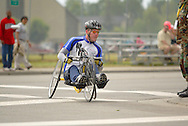 July 4th, 2006:  Anchorage, Alaska - Sean Halsted (112), a Air Force veteran from Gig Harbor, Washington, heads into turn one during the 5k Handcycle race at the 26th National Veterans Wheelchair Games.