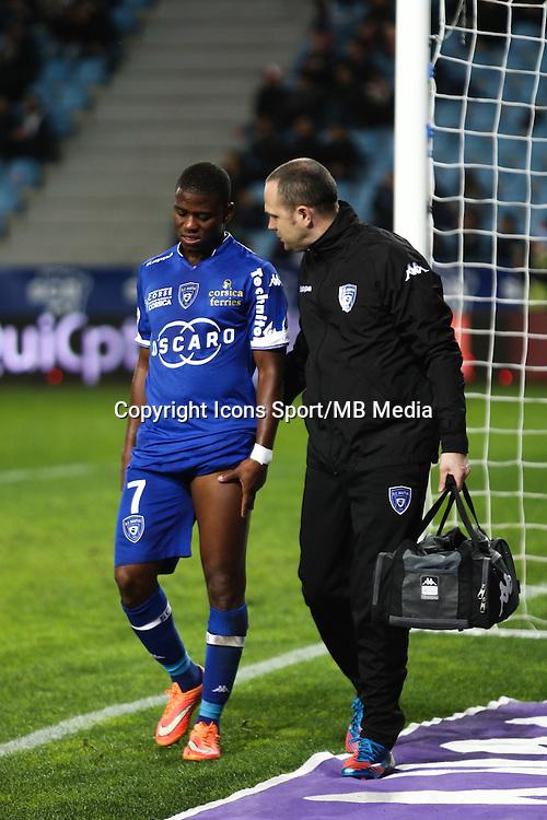 Blessure Floyd AYITE - 03.12.2014 - Bastia / Evian Thonon - 16eme journee de Ligue 1 <br />Photo : Michel Maestracci / Icon Sport