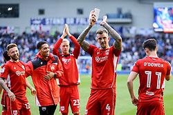 Bristol City players celebrate winning 1-0 against Brighton & Hove Albion, keeping them in the championship, #wearestsayingup - Mandatory by-line: Jason Brown/JMP - 29/04/2017 - FOOTBALL - Amex Stadium - Brighton, England - Brighton and Hove Albion v Bristol City - Sky Bet Championship