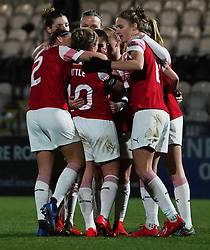 February 20, 2019 - Borehamwood, Hertfordshire, United Kingdom - Kim Little (Captain) of Arsenal celebrate her goal with her Team mates during the FA Women's Super League football match between Arsenal Women and Yeovil Town L.F.C.at Meadow Park on February 20, 2019 in Borehamwood, England. (Credit Image: © Action Foto Sport/NurPhoto via ZUMA Press)