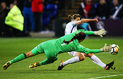 Tatyana Shcherbak of Russia dives to save a shot from Ellen White of England - Mandatory by-line: Matt McNulty/JMP - 19/09/2017 - FOOTBALL - Prenton Park - Birkenhead, United Kingdom - England v Russia - FIFA Women's World Cup Qualifier