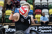 UNITED KINGDOM, London: 2015 World Wheelchair Rugby Challenge. Caption: New Zealand's Cameron Leslie catches the ball mid-game. Rick Findler / Story Picture Agency