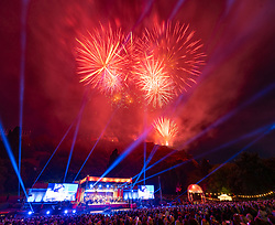 Edinburgh, Scotland, UK. 26 August 2019. Virgin Money Fireworks Concert at Edinburgh Castle and Princes Street gardens to mark the end of the 2019 Edinburgh international Festival. Music performed by the Scottish chamber Orchestra.  Iain Masterton/Alamy Live News.