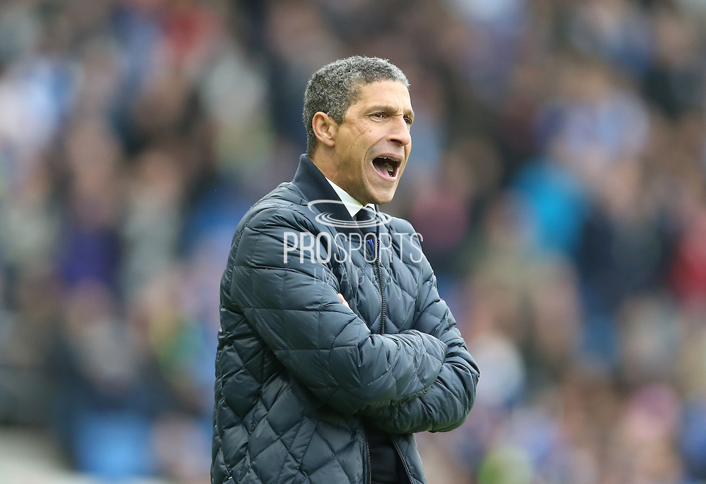 Brighton Manager, Chris Hughton during the Sky Bet Championship match between Brighton and Hove Albion and Huddersfield Town at the American Express Community Stadium, Brighton and Hove, England on 23 January 2016.