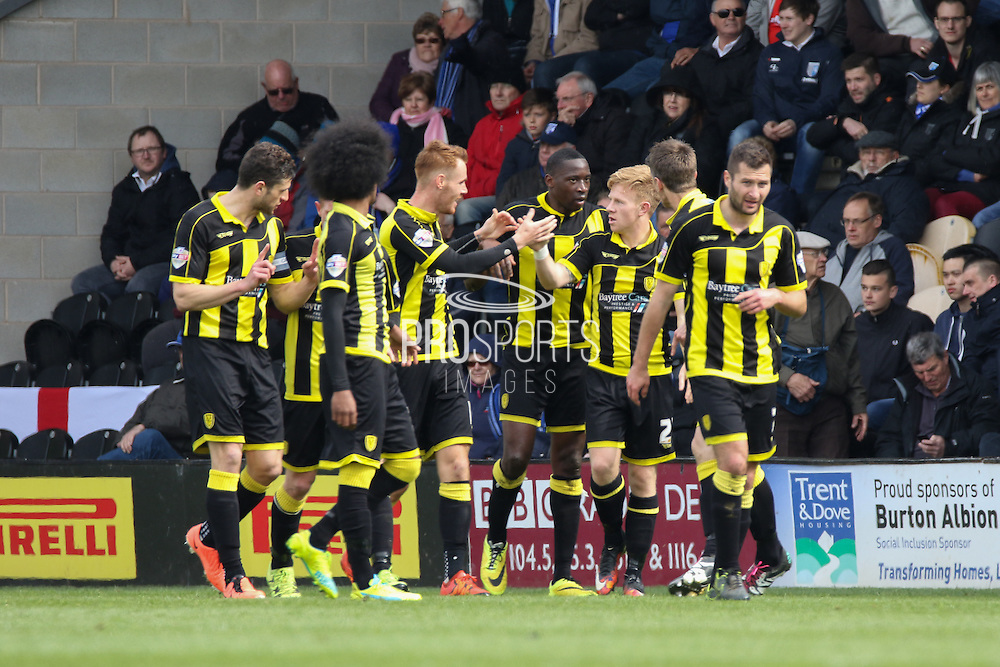 Celebrations as Burton Albion forward Lucas Akins scores during the Sky Bet League 1 match between Burton Albion and Gillingham at the Pirelli Stadium, Burton upon Trent, England on 30 April 2016. Photo by Aaron  Lupton.