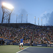 Roger Federer, Switzerland, in action against Tommy Robredo, Spain, on Louis Armstrong Stadium during the Men's Singles competition at the US Open. Flushing. New York, USA. 2nd September 2013. Photo Tim Clayton