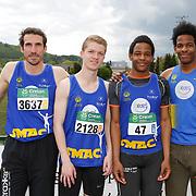De Baerdemaker Xavier (#3637, SMAC),  Ghislain Sebastien (#2128, SMAC), Kapenda Raphael (#47, SMAC), Kapenda Nathan (#46, SMAC) lors du Championnat LBFA de relais qui s'est déroulé à Andenne (Andenne Arena) le 06/05/2017. Photo : Frédéric de Laminne