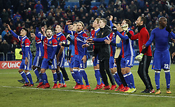 FC Basel teammembers celebrate after winning the UEFA Champions League group A match between Basel and Manchester United in Basel, Switzerland, November 22, 2017. Basel won 1-0. (Credit Image: © Ruben Sprich/Xinhua via ZUMA Wire)
