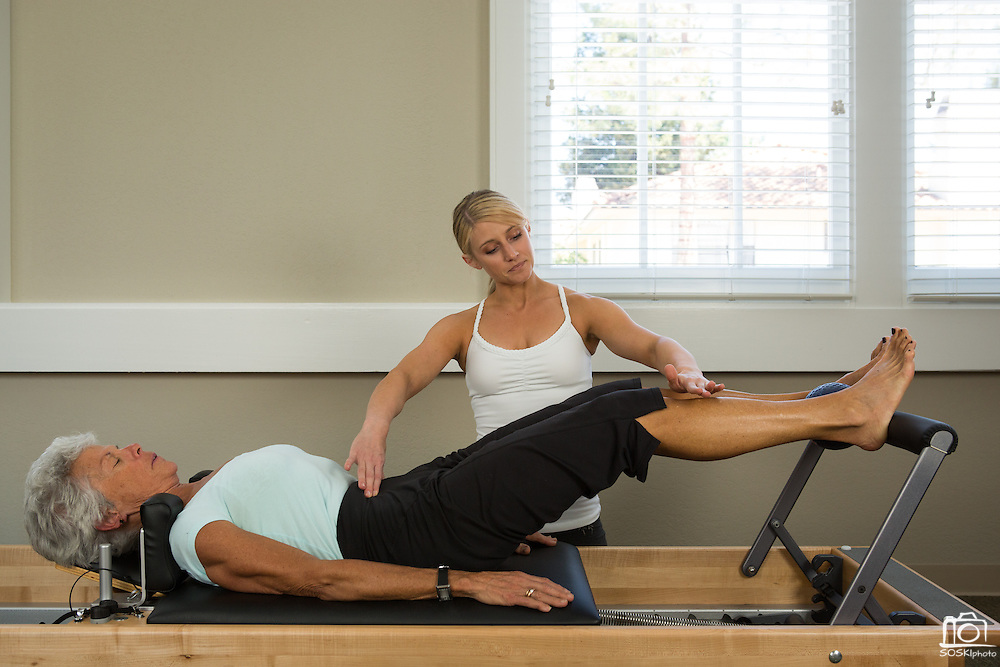 Pilates marketing photos with Lotus Studio owner Liz DeVera in Campbell, California, on May 13, 2013. (Stan Olszewski/SOSKIphoto)