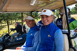 Gleneagles, Scotland, UK; 9 August, 2018.  Day two of European Championships 2018 competition at Gleneagles. Men's and Women's Team Championships Round Robin Group Stage - 2nd Round. Four Ball Match Play format. Johanna Gustavsson and Julia Engstrom (r) of Sweden after winning match against Germany