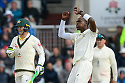 Jofra Archer of England reacts after bowling a delivery to Steve Smith of Australia which drew an edge during the International Test Match 2019, fourth test, day two match between England and Australia at Old Trafford, Manchester, England on 5 September 2019.