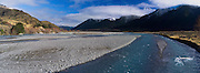 Panoramic view of the Waimakariri River  with the Polar Range in the background, New Zealand
