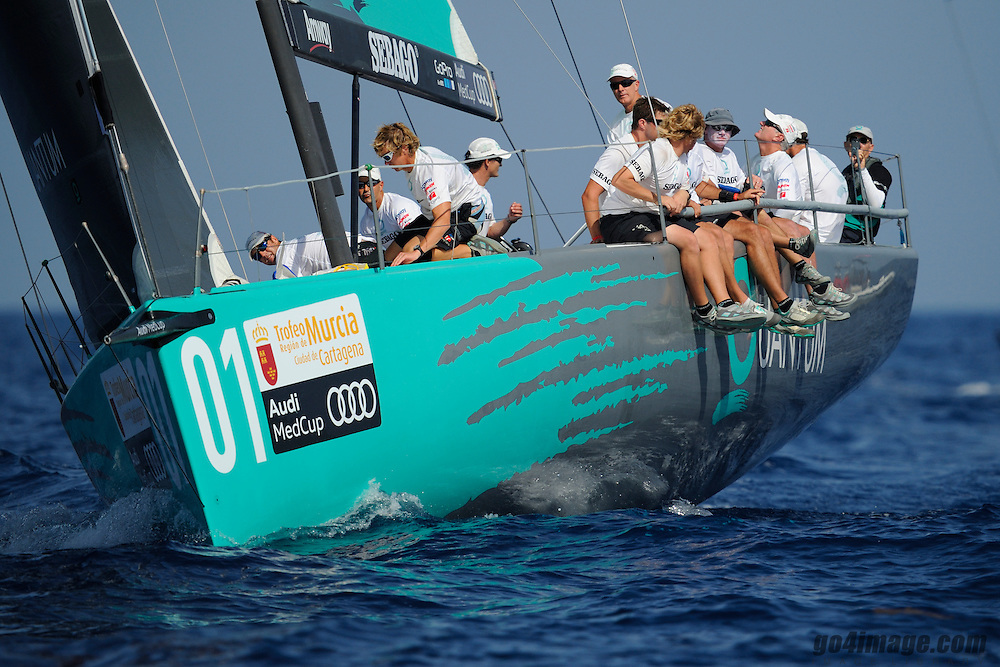 August 2011 Bay of Cartagena Spain, Audi Medcup 2011, Costal Race winner Quantum who passed Azurra on the finishing line with a broken halyard of the main sail.