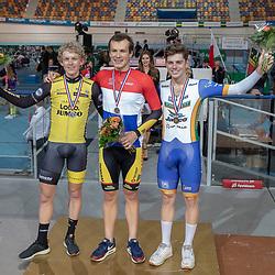 27-12-2018: Wielrennen: NK Baan: Apeldoorn<br />Joost van der Burg is in Apeldoorn Nederlands kampioen op de achtervolging geworden. In de finale versloeg de renner van Vlasman Cycling Jumbo-prof Koen Bouwman. Ryan Schilt eiste het brons voor zich op.