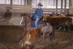 April 29 2017 - Minshall Farm Cutting 1, held at Minshall Farms, Hillsburgh Ontario. The event was put on by the Ontario Cutting Horse Association. Riding in the Ranch Class is Chet Martin on Gunna Wanna Whiz owned by the rider.