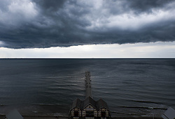 © Licensed to London News Pictures.05/07/15<br /> Saltburn by the Sea, UK. <br /> <br /> Storm clouds pass over the north sea off the coastline at Saltburn by the Sea. <br /> <br /> Photo credit : Ian Forsyth/LNP