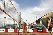 PIC BY ANDREW ORCHARD.ACTION FROM THE UK URBAN BEACH GRAND PRIX, BEACH VOLLEYBALL EVENT AT THE OVAL BASIN, CARDIFF BAY, WALES, UK OVER THE WEEKEND OF 19TH/20TH AUG 2006. THE EVENT FEATURING TOP UK PLAYERS IS TOURING MAJOR CITIES LEADING UP TO LONDON 2012 OLYMPICS.
