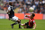Nadjim Abdou of Millwall does battle with Josh Brownhill of Barnsley during the Sky Bet League 1 Play-off Final between Barnsley and Millwall at Wembley Stadium, London<br /> Picture by Richard Blaxall/Focus Images Ltd +44 7853 364624<br /> 29/05/2016