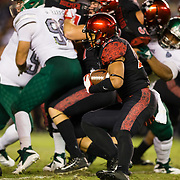 22 September 2018: San Diego State Aztecs running back Chase Jasmin (22) rushes the ball in the fourth quarter while the Aztecs trail 20-17. The San Diego State Aztecs beat the Eastern Michigan Eagles 23-20 in over time at SDCCU Stadium in San Diego, California.