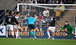 Dunfermline's Jordan Moore scores their goal.<br /> Falkirk 2 v 1 Dunfermline, Scottish League Cup, 27/8/2013, at The Falkirk Stadium.<br /> &copy;Michael Schofield.