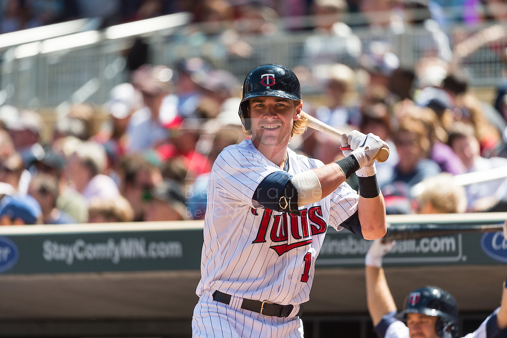 Chris Herrmann #12 of the Minnesota Twins looks on from the on-deck circle during a game against the Seattle Mariners on June 2, 2013 at Target Field in Minneapolis, Minnesota.  The Twins defeated the Mariners 10 to 0.  Photo: Ben Krause