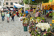 Mexican families purchase flowers at a market outside the public cemetery for the Dead of the Dead during the Dia de Muertos festival in San Miguel de Allende, Mexico. The multi-day festival is to remember friends and family members who have died using calaveras, aztec marigolds, alfeniques, papel picado and the favorite foods and beverages of the departed.